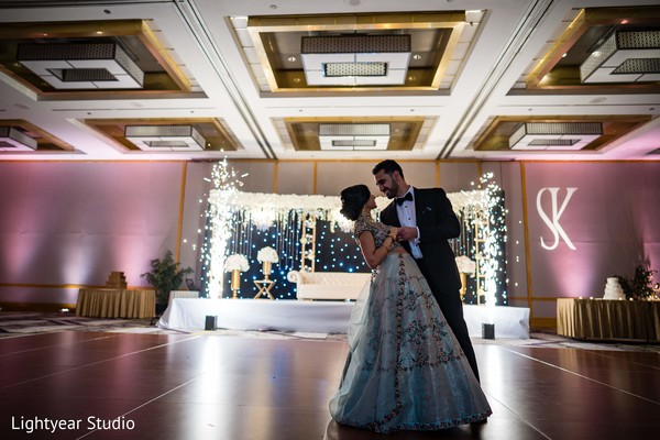 Dazzling Indian wedding couple's first dance.