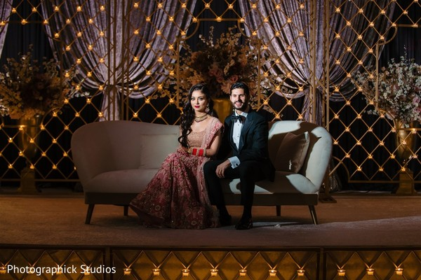 Elegant Indian couple in photo shoot.