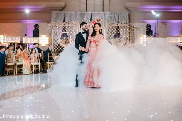 Enchanting Indian couple dancing.