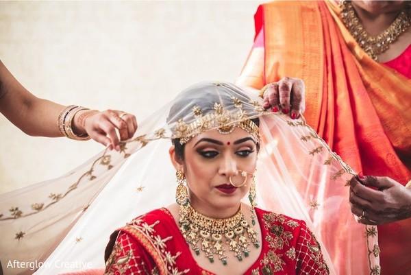 Elegant Indian bridal ceremony ghoonghat.