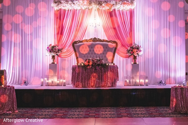 Indian wedding reception stage decor.