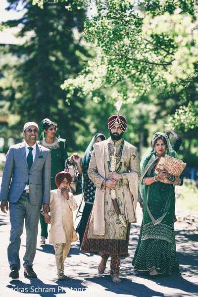 Indian groom with family