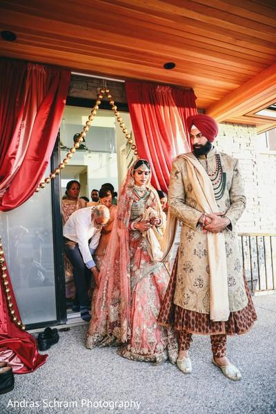 Indian bride and groom making their entrance