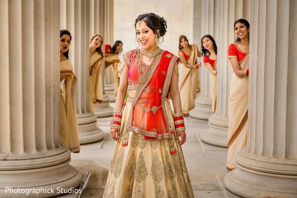 Cute indian bride with bridesmaids