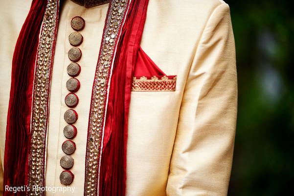 Incredible details in this groom's kurta.
