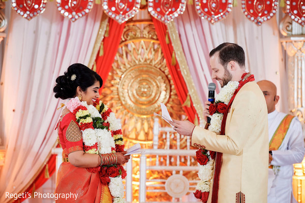 Indian couple exchanging vows.