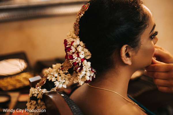 Indian bride getting ready for the ceremony.