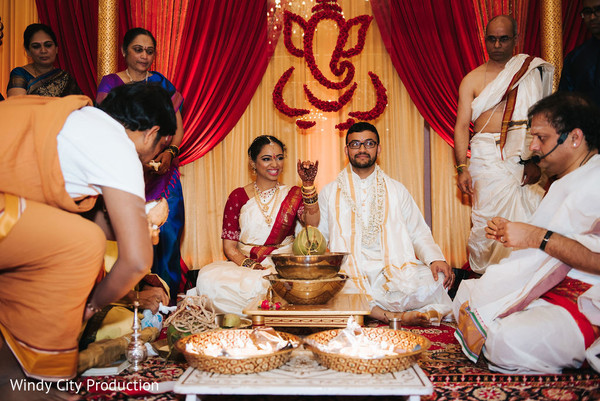 Indian groom and bride during the rituals.