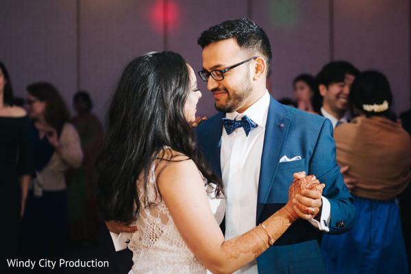Bride and groom on the dance floor.