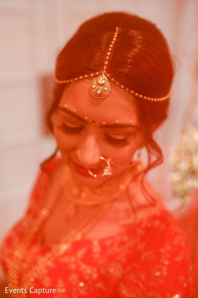 Dreamy Indian bride with her wedding ceremony look.