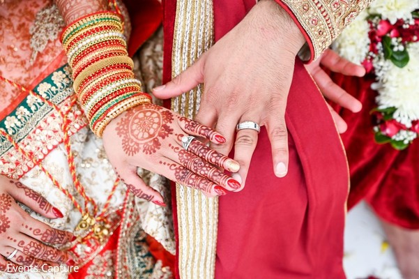 Closeup capture of Indian couple's wedding rings.