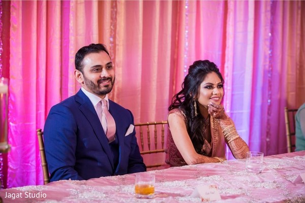 Elegant Indian couple at the reception.