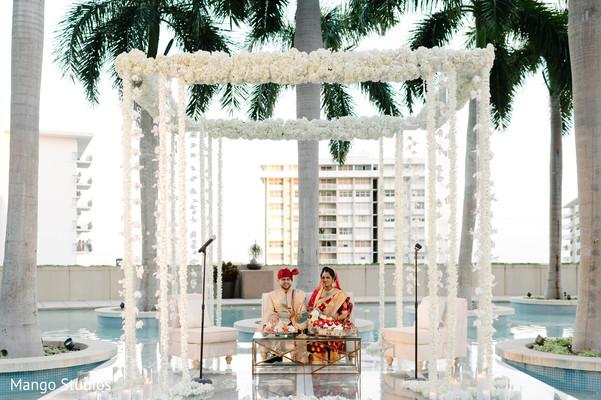 Elegant outdoor India wedding ceremony.