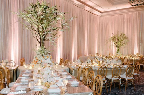 Dazzling Indian wedding reception decor.