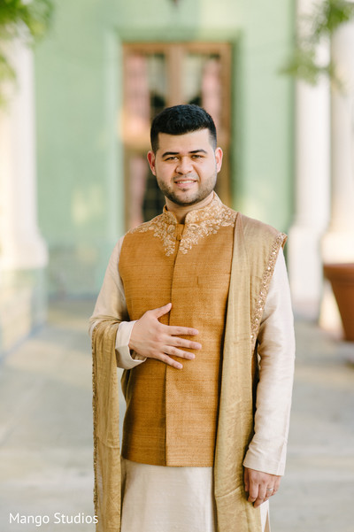 Indian groom pre-wedding fashion.