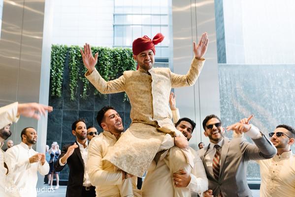 Indian groom arrival.