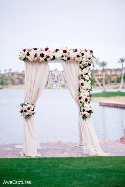Indian Christian wedding mandap flowers decor.