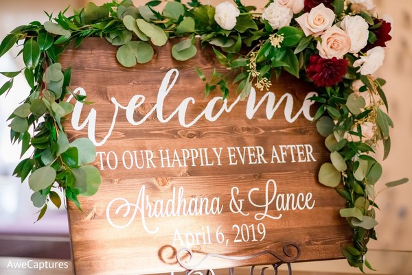 Elegant decoration for an indian wedding sign.