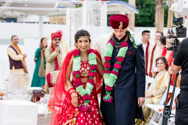 Joyful Indian couple just married.