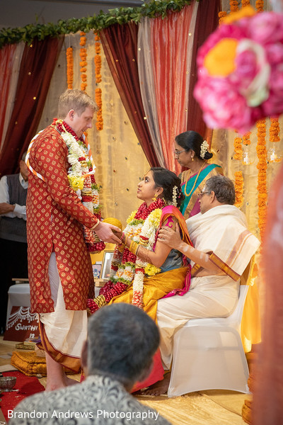 Indian groom and bride at the Kanya Aagman ritual.