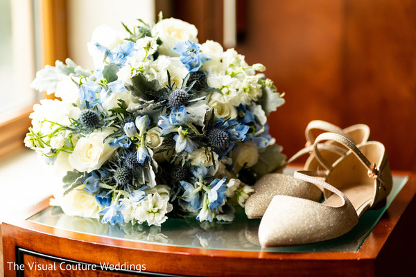 Floral arrangements and shoes from the Maharani.