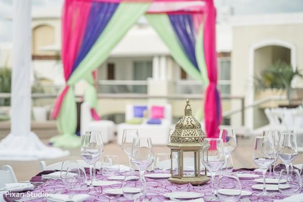 Elegant Indian pre-wedding party table decor.