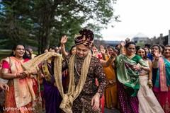 Indian groom during the fun baraat.