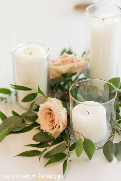 Elegant Indian wedding candle and roses table decor.