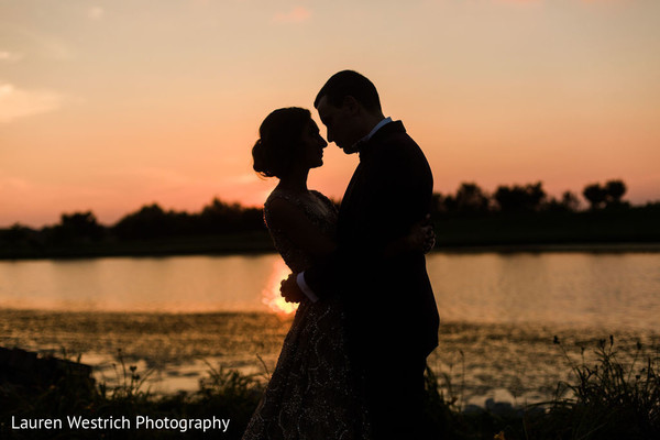 Romantic Indian bride and groom silhouette capture.