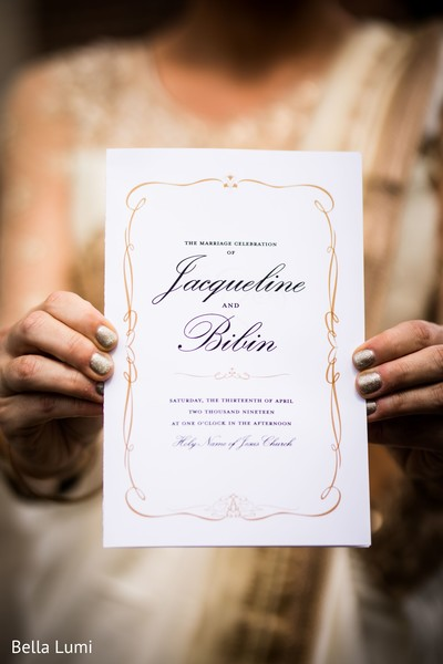 Indian wedding invitation details.
