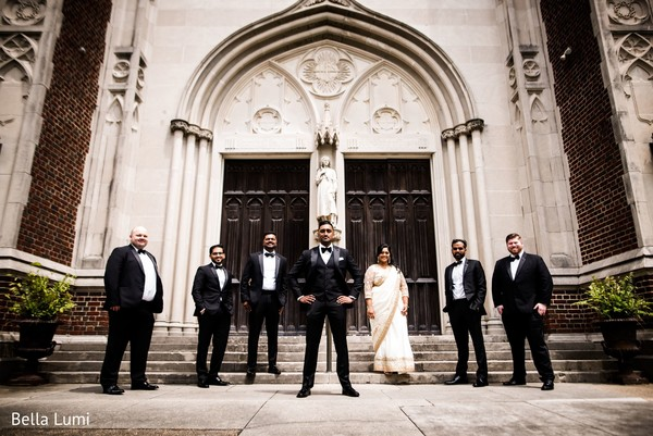 Indian groom with special guests.