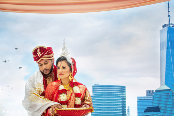 Indian bride and groom magical capture at ceremony.
