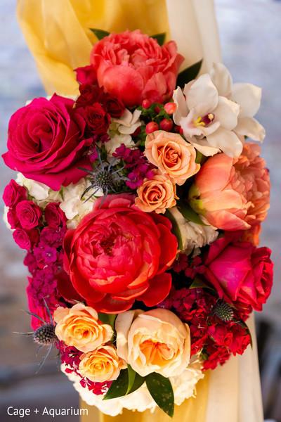 Closeup capture of Indian wedding mandap flowers decoration.
