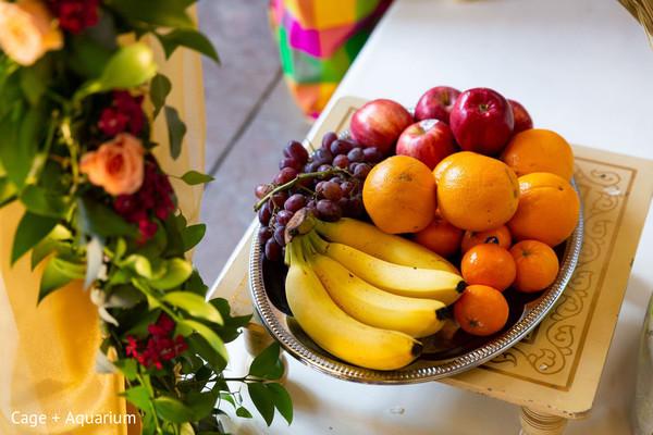 Indian wedding ceremony fruit decor.