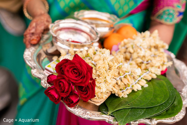 Closeup capture of India wedding ceremony ritual items.