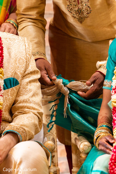 Closeup capture of the Indian wedding knot ritual.