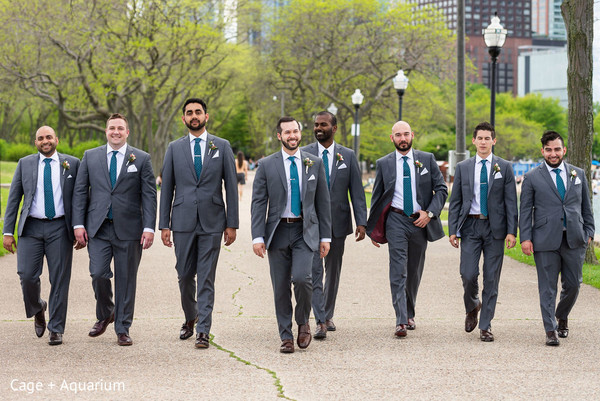 Make way to the elegant Indian groom and his groomsmen.