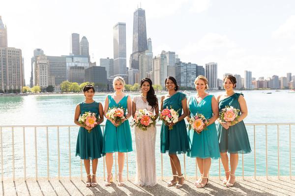 Beautiful Indian bride, bridesmaids and landscape.