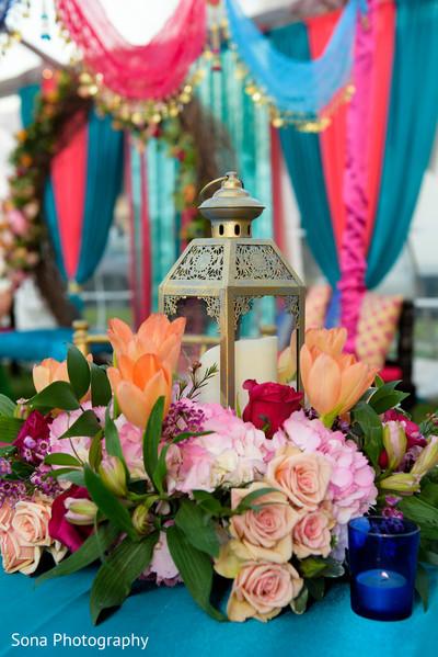 Lovely Sangeet table centerpiece decoration.