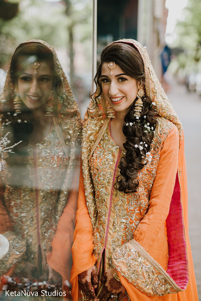 Lovely Indian bride at photo shoot.