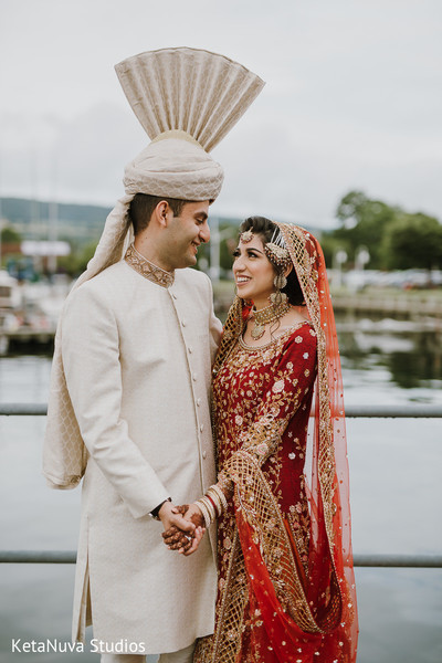 Gorgeous Indian couple looking at each other.