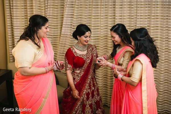 Lovely bridesmaids assisting Maharani.