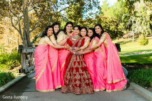 Colorful Maharani and her bridesmaids.