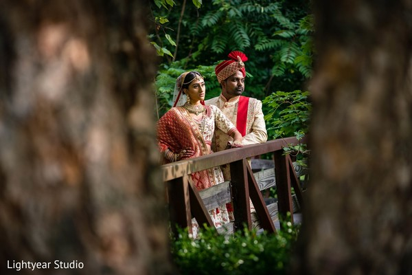 Charming indian groom and bride portrait