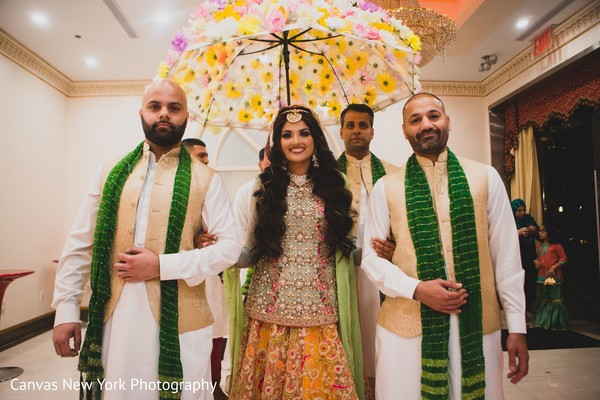 Fun capture of Indian bride entering to Sangeet party.
