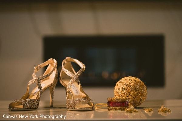 Elegant Indian bridal wedding jewelry and shoes.
