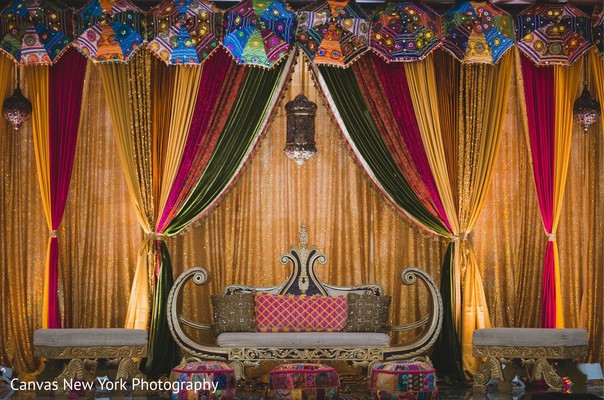 Magnificent Indian Sangeet stage decorations.