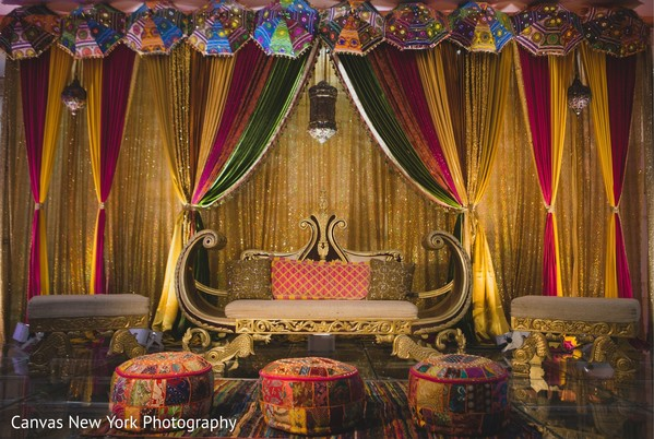 Colorful Sangeet stage draping decoration.