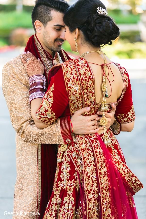Romantic Indian couple at photo shoot.