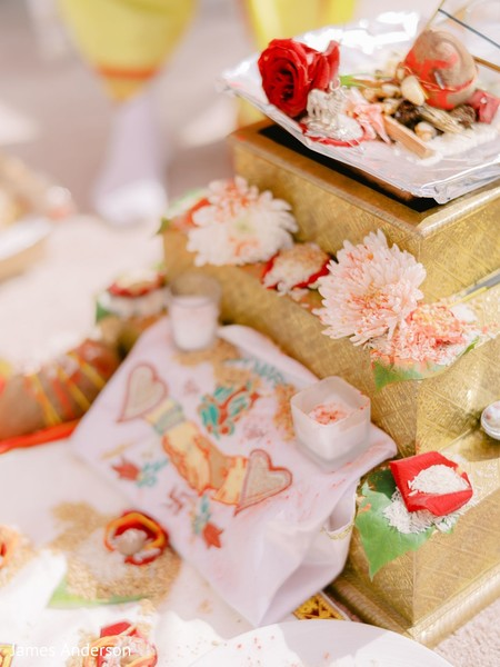 Closeup capture of Indian wedding ceremony decoration.